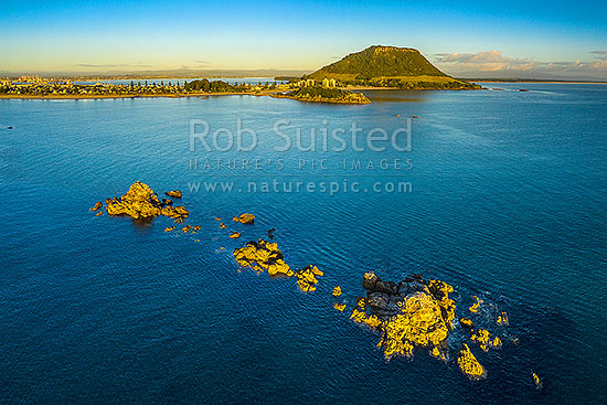Mount Maunganui, or Mauao, with Tauranga Harbour beyond. Mauao, a 231m high lava dome at Tauranga Harbour entrance. Aerial view over reef, Mount Maunganui, Tauranga District, Bay of Plenty Region, New Zealand (NZ) stock photo.