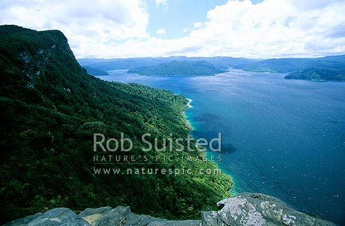 Lake Waikaremoana from Panekiri Bluff (1100m) - Lake Waikaremoana tramp, Te Urewera National Park, Te Urewera National Park, Wairoa District, Hawke's Bay Region, New Zealand (NZ) stock photo.