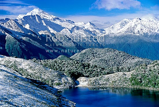 Looking south over Lake Leeb (970m) and Thomson Range towards Mount (Mt) Aspiring (left), South Westland, Westland District, West Coast Region, New Zealand (NZ) stock photo.